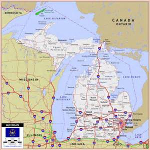 Road Map Of Michigan by Michigan Highway And Road Map Marquette Mich In Tha Up