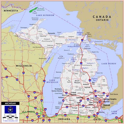 michigan highways map michigan highway and road map marquette mich in tha up