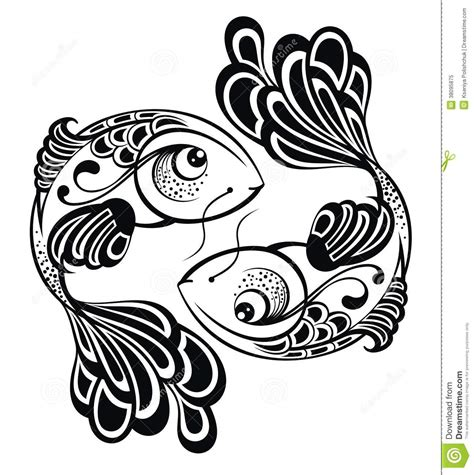 zodiac signs pisces tattoo design stock vector