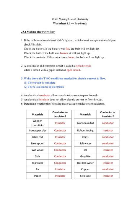 Electricity Worksheet Pdf