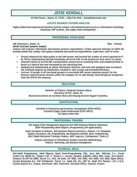 Resume Sles For Business Systems Analyst Systems Analyst Resume Exle
