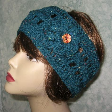 crochet pattern for headbands with flowers crochet pattern womens crochet headband with double flower
