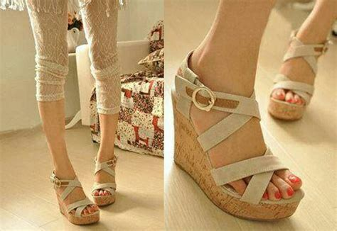 Sandal Wanita Wedges Krem As5 sandal wedges tali silang cantik model terbaru murah