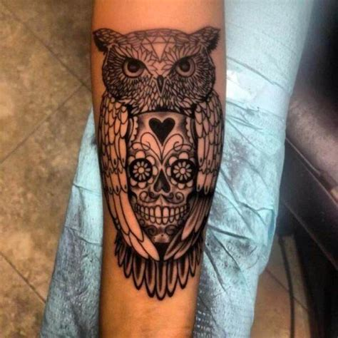 owl tattoo arm girl sugar skull owl tattoo design meaning http