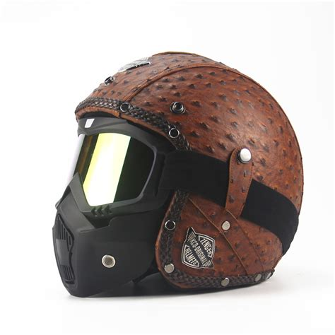 vintage motocross helmets leather harley helmets 3 4 motorcycle chopper bike helmet