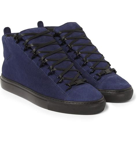 balenciaga blue sneakers lyst balenciaga arena suede high top sneakers in blue