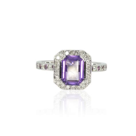 emerald cut engagement ring amethyst ring with amethyst and