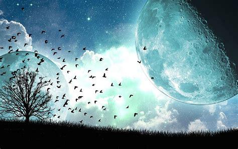 imagenes abstractas de la luna 225 rboles paisajes surrealistas de la luna azul del cielo