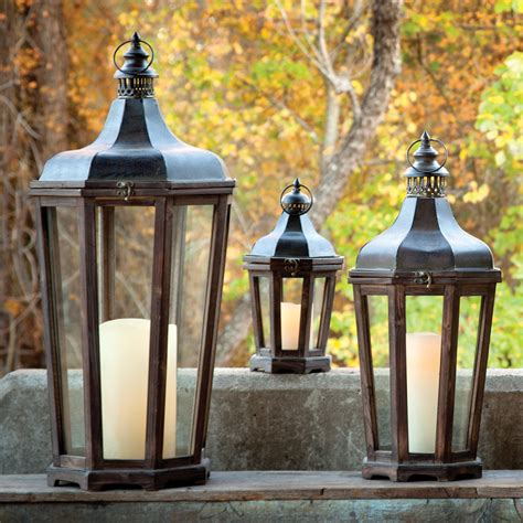 backyard lanterns park hill hillcrest lantern set 3 la121