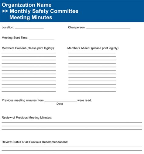 easy safety committee meeting minutes safety committee meeting agenda template for free
