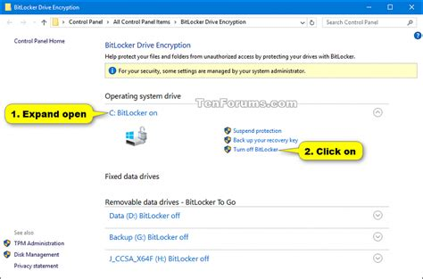 bitlocker turn on or for operating system drive in
