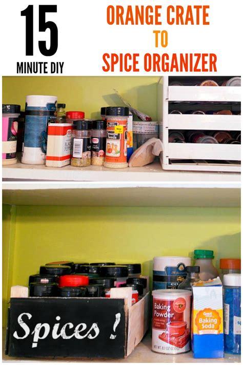 diy crate spice rack diy spice organizer using an orange crate