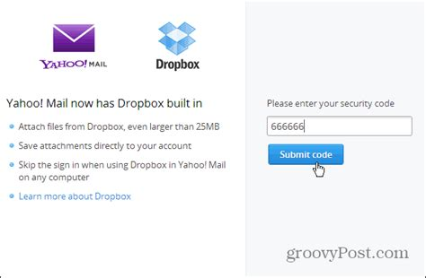 yahoo email verification code send large files in yahoo mail with dropbox