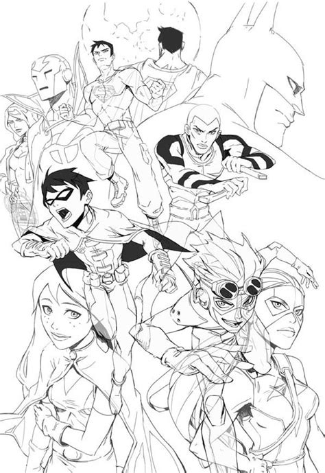 coloring pages young justice young justice league colouring pages