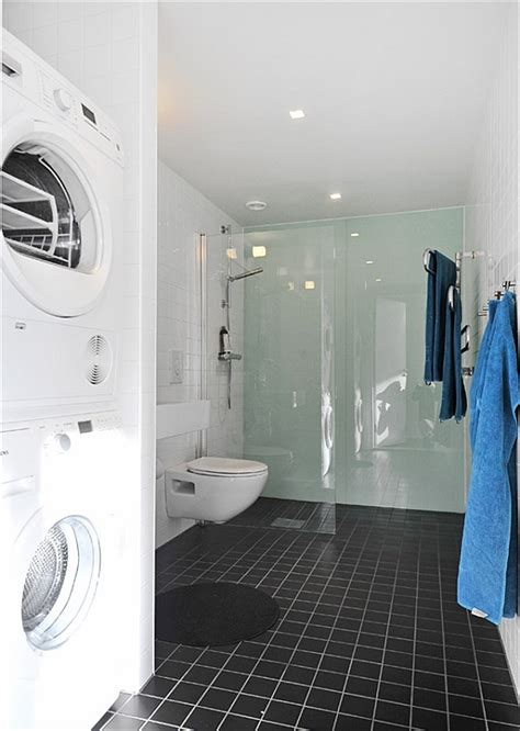 bathroom with washer and dryer black white contemporary loft bathroom with washer and