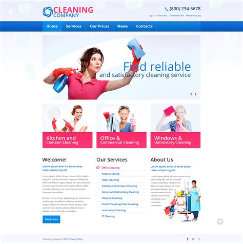themes wordpress clean cleaning services wordpress theme 45537