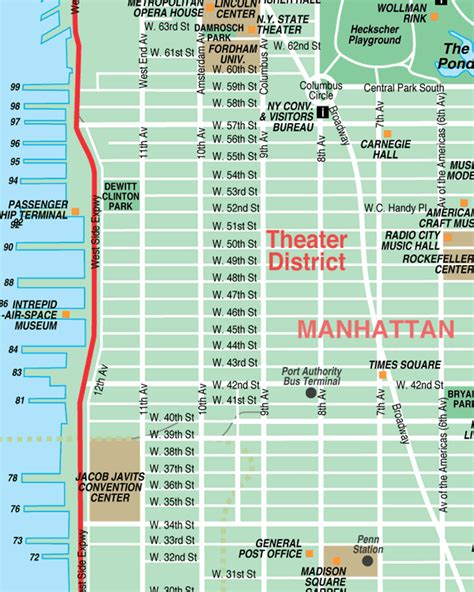S Theatre District Is Located In Which Section Of by Broadway Theatre District New York City Streets Map
