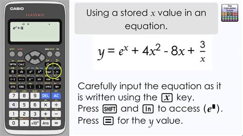 calculator x to the power of y casio classwiz using a stored value of x in an equation