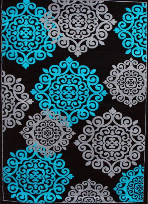 Turquoise Area Rug 8x10 776 Turquoise Gray Black 5x7 8x10 Area Rugs Carpet Contemporary New Modern Ebay