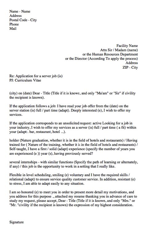 cover letter for waitress position waitress cover letter sle resumes design