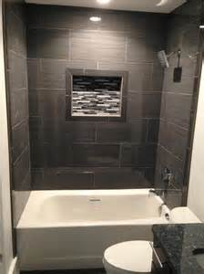 12x24 Tile In A Small Bathroom Coastlinecustomfloor 12 X 24 Porcelain Tile Tub Surround