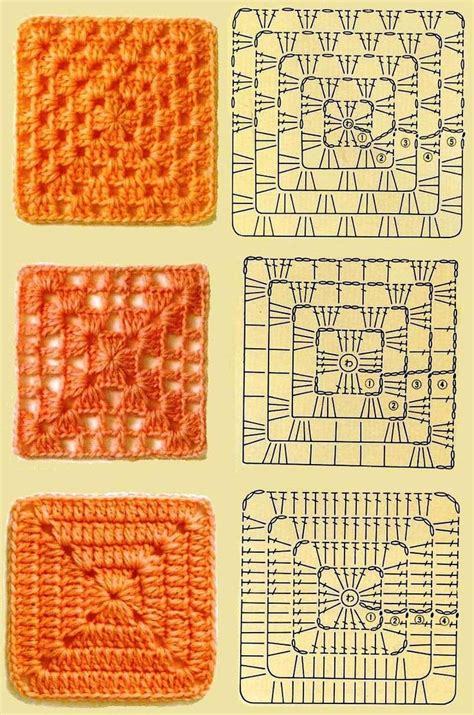pattern and types 3 kinds of granny squares crochet pinterest