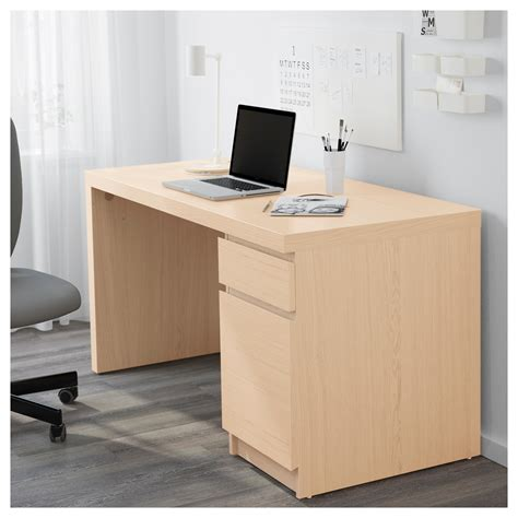 Malm Desk White Stained Oak Veneer 140x65 Cm Ikea Malm Desk White