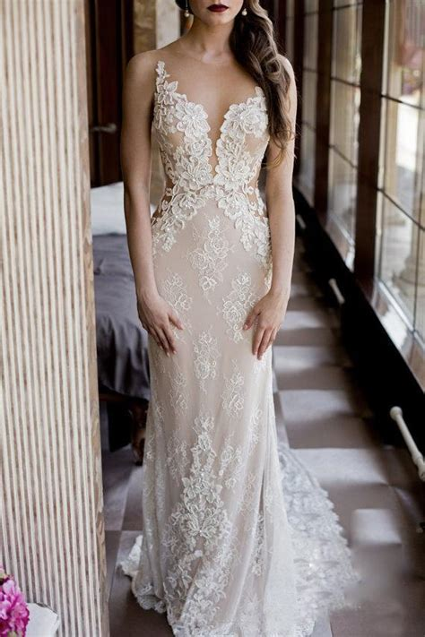 modest fit  flare wedding dress sexy sheer bling
