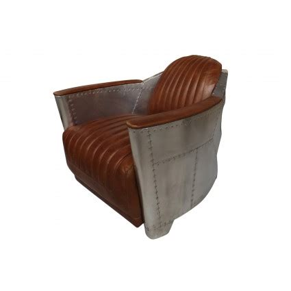 Aviator Armchair by Industrial Aviator Style Armchair In Stitched Leather And Brushed Aluminium