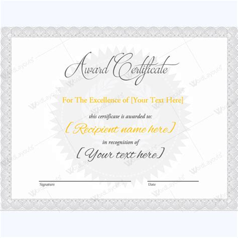 Docs Award Certificate Template by Award Certificate Templates Free Printable Documents