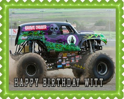 grave digger monster truck cake grave digger monster truck edible birthday cake or cupcake