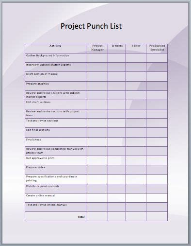 punchlist template project punch list template ms memo