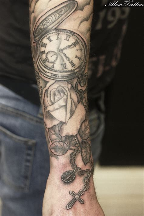 broken clock tattoo design and roses tattoos