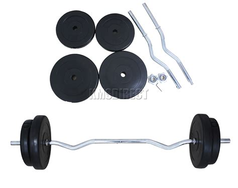 Request Barbell Set foxhunter 4ft curl bar barbell set weight lifting triceps arm 30kg