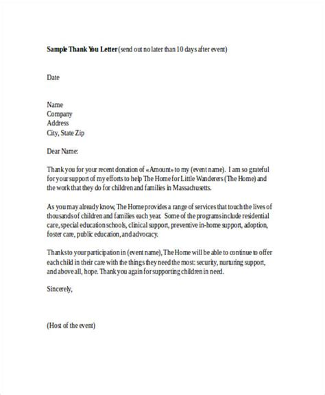 Support Event Letter 69 thank you letter exles
