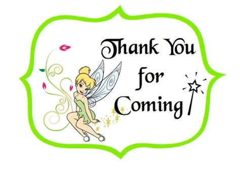 disney world thank you card templates free tinker bell thank you labels print on card stock or