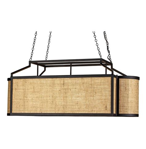 Walford Rustic Modern Burlap Long Rectangle Island Pendant Rustic Rectangular Chandelier