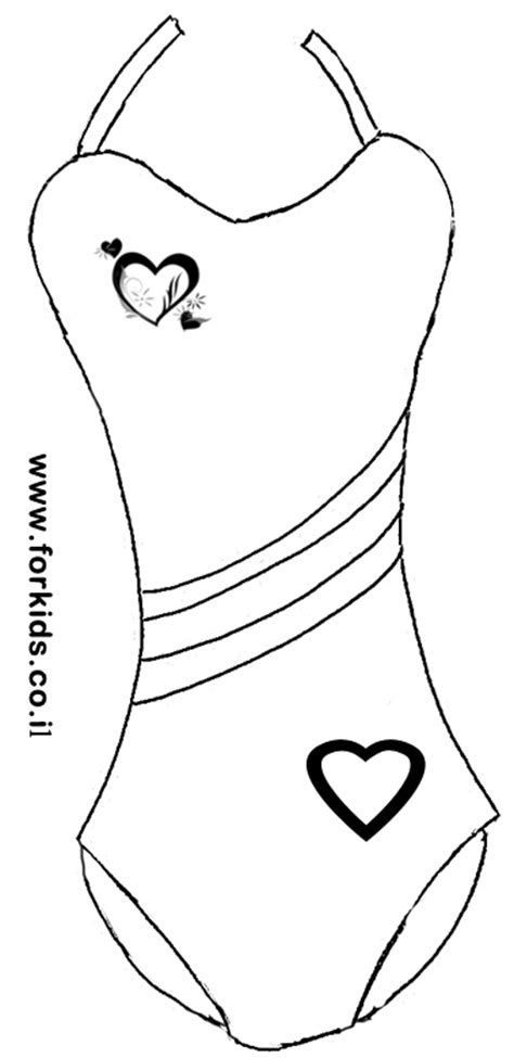 Number Print Swimsuit coloring page of swimsuit with harts www forkids co