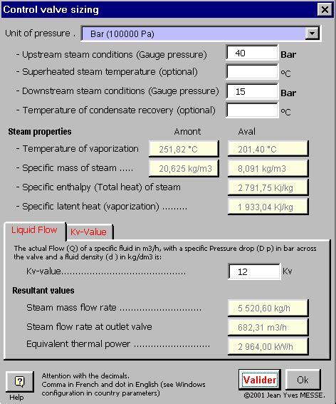 steam valve cv calculator