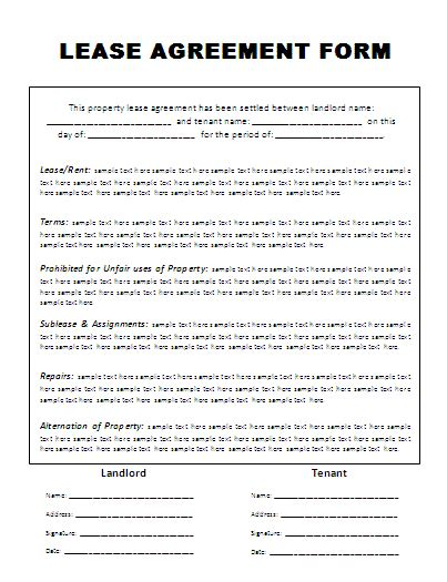 Rental Lease Agreement Form Free Word S Templates Lease Agreement Template Free