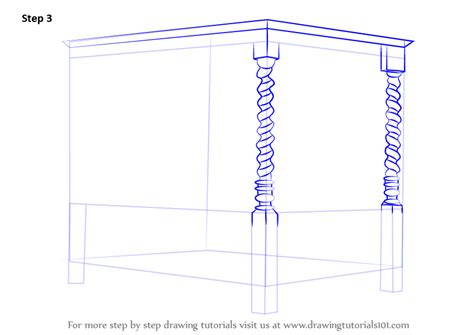 how to draw a bedroom step by step learn how to draw a four poster bed furniture step by