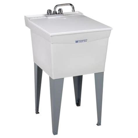 mustee 20 in x 34 in plastic floor mount laundry tub
