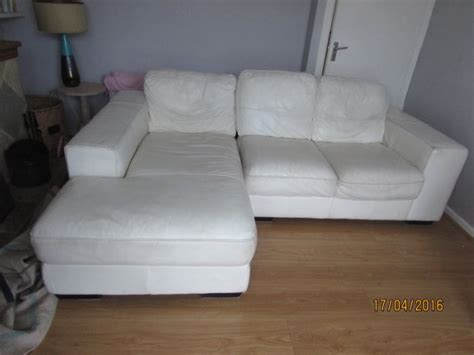 cream leather l shaped sofa l shaped cream leather sofa 3seater for sale in kilcoole