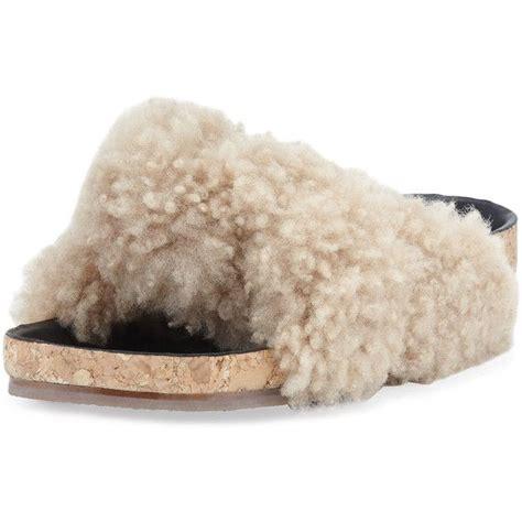Sandal Sh 22 Sandal Wanita Sandal Flat Shoes Sandal Selop shearling fur flat slide sandal 4 980 sek liked on polyvore featuring shoes sandals