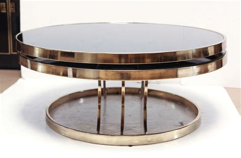 Swivel Glass Coffee Table Italian Brass And Glass Swivel Coffee Table At 1stdibs
