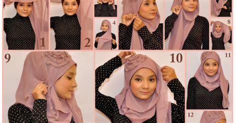 tutorial jilbab pita tutorial jilbab cara memakai jilbab selendang hiasan mawar