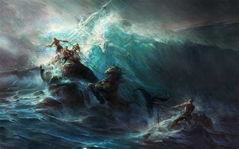 fantasy art painting artwork poseidon wallpapers hd