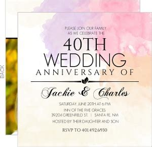 40th wedding anniversary invitation cheap anniversary invitations invite shop