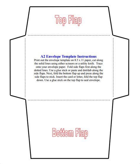 free printable envelope pdf a2 envelope template 7 download free documents in pdf