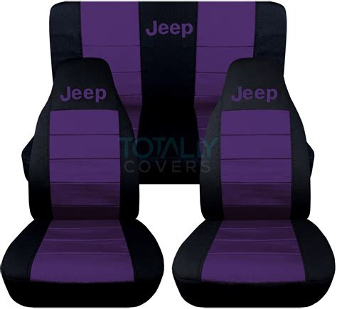 dark purple jeep jeep wrangler yj tj jk 1987 2017 2 tone seat covers w logo